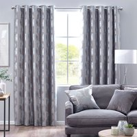 Enchanted Forest Ready Made Eyelet Curtains Silver