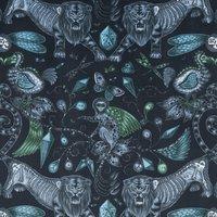 Emma Shipley Extinct Velvet Curtain Fabric Navy