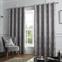 Feather Ready Made Eyelet Curtains Silver