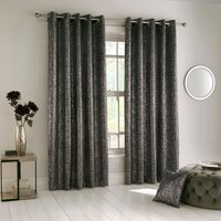 Halo Ready Made Eyelet Blockout Curtains Charcoal
