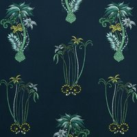 Jungle Palms Curtain Fabric Navy