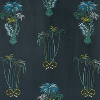 Emma Shipley Jungle Palms Velvet Curtain Fabric Navy