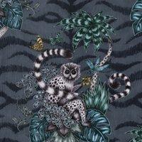 Emma Shipley Lemur Velvet Curtain Fabric Navy