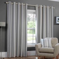 Monaco Ready Made Lined Eyelet Curtains Charcoal