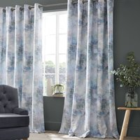 Voyage Monet Lined Ready Made Eyelet Curtains Azurite