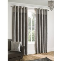 Nova Ready Made Lined Eyelet Curtains Silver