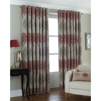 Oakdale Ready Made Lined Eyelet Curtains Red