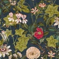 Passiflora Curtain Fabric Midnight Spice