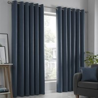 Strata Ready Made Woven Dimout Eyelet Curtains Navy