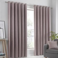 Strata Ready Made Woven Dimout Eyelet Curtains Blush