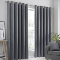 Strata Ready Made Woven Dimout Eyelet Curtains Charcoal
