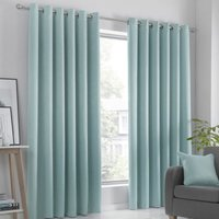 Strata Ready Made Woven Dimout Eyelet Curtains Duckegg