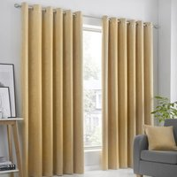 Strata Ready Made Woven Dimout Eyelet Curtains Ochre