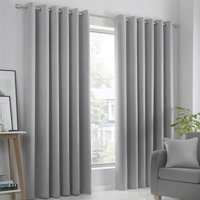 Strata Ready Made Woven Dimout Eyelet Curtains Silver