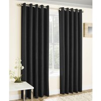 Vogue Ready Made Thermal Blockout Eyelet Curtains  Black