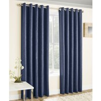 Vogue Ready Made Thermal Blockout Eyelet Curtains  Navy