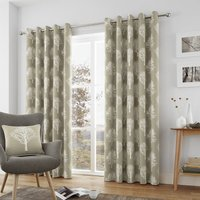 Woodland Trees Ready Made Lined Eyelet Curtains Linen