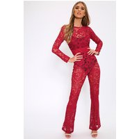 Berry Crochet Lace Sheer Jumpsuit Red
