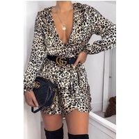 Beige Leopard Print Satin Wrap Tea Dress Beige