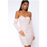 Cream Boucle Off The Shoulder Bodycon Dress White