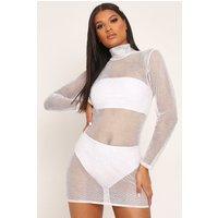 White Glitter Mesh Long Sleeve Bodycon Dress White