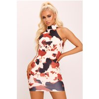 Cream Cow Print High Neck Bodycon Dress White