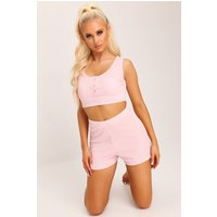 Baby Pink Ribbed Button Up Vest And Shorts Lounge Set Pink
