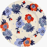 Seconds Red & Blue Anemone 8 1/2 Inch Plate