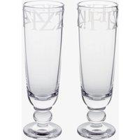 Black Toast Glass Set of 2 Flute Glasses Boxed