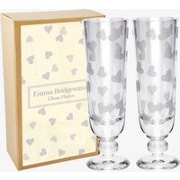 Hearts Set of 2 Glass Flutes Boxed