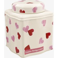 Pink Hearts Dome Lid Curved Tin Caddy.