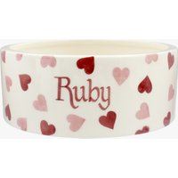 Personalised Pink Hearts Large Pet Bowl