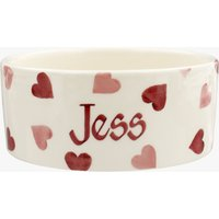 Personalised Pink Hearts Pussycat Small Pet Bowl.