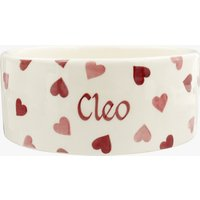 Personalised Pink Hearts Pussycat Large Pet Bowl.