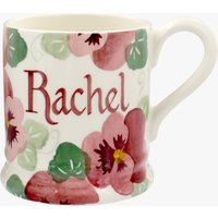Personalised Pink Pansy 1/2 Pint Mug