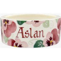 Personalised Pink Pansy Small Pet Bowl