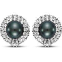 Black Tahitian Pearl And Diamond Earrings - 18mm