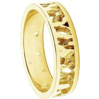 Cornish Seawater Textured 14kt Yellow Gold Nautical Handmade Wedding Ring - UK W 1/2 - US 11 3/8 - EU 65 1/2