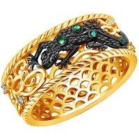 Gold & Emerald Earth Element Lizard Ring | Chekotin Jewellery - UK V - US 10 5/8 - EU 63