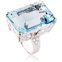 Fire and Ice Emerald-cut Aquamarine Ring - UK M 1/2 - US 6 1/4 - EU 53 1/2