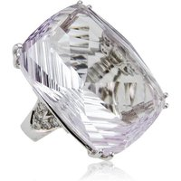 Fire and Ice Fancy-cut Rectangular Cushion Pink Amethyst Ring - UK K 1/2 - US 5 3/8 - EU 50 3/4