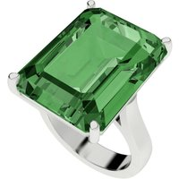 Hydrothermal Emerald Cut Silver Cocktail Ring - UK R - US 8 5/8 - EU 59