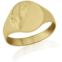 Oval-Shaped 9kt Yellow Gold Lightweight Engraved Signet Ring - P - Black