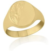 Oval-shaped 9kt Yellow Gold Medium Weight Engraved Signet Ring - O - Brown