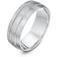 Palladium Court Shape Matt Wedding Ring With Two Polished Grooves - V - Brown