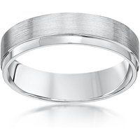 Palladium Flat Court Shape Matt & Polished Wedding Ring - O - Black