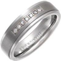 Titanium Flat Court Shape Embossed Wedding Ring With Round Diamond - K - Brown
