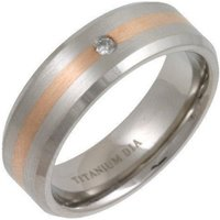 Titanium Flat Court Shape Wedding Ring With 9kt Rose Gold Inlay & Diamond - X - Brown