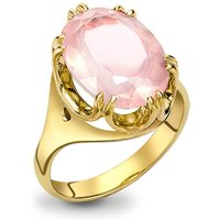 9kt Yellow Gold Elegant Rose Quartz Cocktail Ring - UK M - US 6 - EU 52 3/4