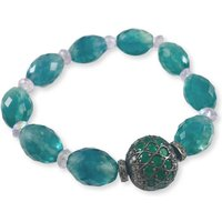 Rhodium Plated Silver Emerald and Amethyst Beaded Bracelet